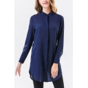 Leisure Womens Solid Color Stand Collar Long Sleeve Regular Fit Tunic Blouse Top in Blue
