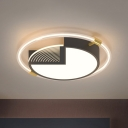 Circle Flush Mount Light Fixture Modern Acrylic LED Bedroom Ceiling Lighting in Black