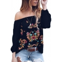 Ethnic Womens Flower Embroidered 3/4 Sleeve Off the Shoulder Relaxed Fit T-shirt in Black