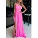 Pretty Ladies Pink One Shoulder High Slit Strap Maxi Pleated Flowy Slip Dress