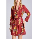 Vintage Womens Dragon Print Bow Front Spaghetti Straps Sleeveless Mini Swing Cami Dress & Tie Waist Shawl Collar Long Sleeve Wrap Robe Set