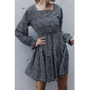 Black Chic Ditsy Floral Printed Button Front Gathered Waist Square Neck Puff Long Sleeve Mini A-Line Dress for Women