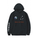 Mens Hoodie Creative Smiley Planet Earth Star Letter Pattern Pocket Drawstring Long Sleeve Loose Fit Hoodie