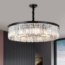 Minimalist 4 Bulbs Ceiling Chandelier Black Drum Down Lighting Pendant with Prismatic Crystal Shade