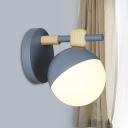 Single Head Bedroom Wall Lighting Macaron Grey/Pink/Yellow Wall Mounted Light with Sphere Opal Glass Shade