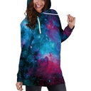 Fancy Galaxy Printed Long Sleeve Slim Mini Hooded Dress