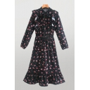 Gorgeous Womens All Over Flower Printed Long Sleeve Bow Tied Neck Ruffled Maxi A-line Dress in Black