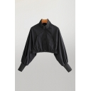 Stylish Girls Black Blouson Sleeve Stand Collar Zip Up Relaxed Crop Jacket