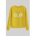 Leisure Lemon Bike Print Long Sleeve Crew Neck Regular Fit Pullover Sweatshirt