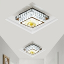 Square/Round Flush Mount Fixture Simplicity Faceted Crystal LED Chrome Close to Ceiling Light with Petal Pattern
