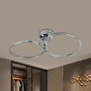 Dual Ring Semi Flush Mount Modern Metal LED Bedroom Close to Ceiling Light in Stainless-Steel