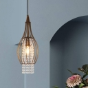 Simple Cylinder Pendant Lighting Crystal Strand 1 Head Bedroom Hanging Light Kit in Coffee with Wire Cage