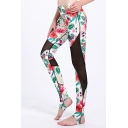 Cozy Womens Leggings 3D Butterfly Floral Leaf Patchwork Mesh Pattern Skinny Fitted High Rise Full Length Stirrup Leggings for Women