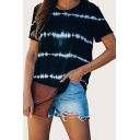 Novelty Womens Striped Tie Dye Crew Neck Short Sleeve Loose Fit Tee Top
