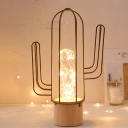 Wire Cage Cactus Table Light Kids Stainless Steel Child Bedside Chargeable LED Night Stand Lamp in Gold