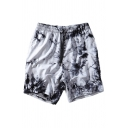 Fashionable Mens Shorts Tie-dye Drawstring Waist Pockets Regular Fit over the Knee Length Sweat Shorts