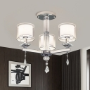 Iron Branching Semi Flush Chandelier Modern 3 Bulbs Chrome Ceiling Light with Cylinder Clear Glass Shade