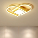 Simple Loving Heart Ceiling Mount Acrylic LED Bedroom Square Flush Mount Fixture in Gold/Coffee, Warm/White Light