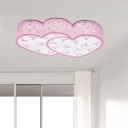 LED Bedroom Flushmount Light Nordic Pink Ceiling Fixture with Loving Heart Acrylic Shade
