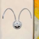 Metallic Curvy Wall Lighting Ideas Modern LED Wall Light Fixture in Chrome, Warm/White Light