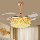 Cascading Fan Light Ceiling Fixture Simple Crystal Ball Dining Room LED Semi Mount Lighting in Silver/Gold with 4 Blades, 19