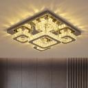 Multi-Square Semi Mount Lighting Modern Cut Crystal Bedroom LED Ceiling Flush Light in Chrome