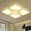 Square Petals LED Flush Light Fixture Modern Cut Crystal Chrome Close to Ceiling Lighting in Warm/White Light
