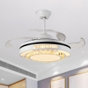 Circle Beveled Crystal Fan Lighting Modern 19