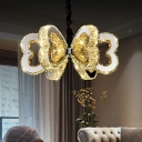Chrome Loving Heart Pendant Chandelier Minimal Clear Crystal LED Hanging Ceiling Light in Warm/White Light