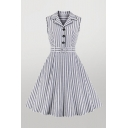 Boutique Womens Vertical Striped Buckle Belted Button Contrast Piping Lapel Collar Sleeveless Midi Fit & Flared Dress in Grey