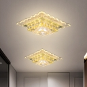 Silver LED Square Ceiling Lighting Simplicity Clear Crystal Flush Mount Lamp in Warm/White Light