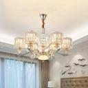 Drum Ceiling Hang Fixture Modernist Crystal Prisms 6 Lights Living Room Pendant Chandelier in Gold