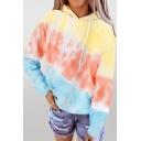 Funny Girls Color Block Kangaroo Pocket Drawstring Hooded Long Sleeve Loose Hoodie in Blue