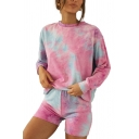 Novelty Womens Tie Dye Crew Neck Long Sleeve Loose Fit Pullover Sweatshirt & Shorts Set in Pink