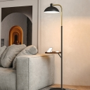 Dome Living Room Floor Standing Light Metallic 1 Bulb Contemporary Floor Lamp with Table Design in Black