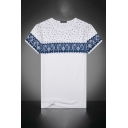 Mens Casual T-Shirt Color Block Paisley Wave Dots Pattern Round Neck Regular Fitted Short Sleeve Tee Top