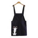 Fancy Overalls Cartoon Cat Pattern Pocket Button Regular Fitted Short Overalls for Ladies