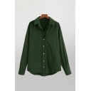 Simple Womens Plain Chest Pocket Button Up Turn-down Collar Long Sleeve Loose Fit High Low Shirt in Green