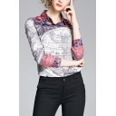 Purple Stylish Flower Map Printed Color Block Single Breasted Turn-down Collar Long Sleeve Regular Fit Shirt for Women