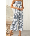 Womens Jumpsuits Chic Abstract Striped Printed Shirred-Back Capri Sleeveless Strapless Regular Fitted Jumpsuits