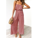 Womens Jumpsuits Fashionable Vertical Striped Pattern Bow-Knot Waist Wide Leg Sleeveless Strapless Loose Fitted Jumpsuits