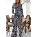 Womens Jumpsuits Classic Geometric Pattern Full Length Surplice Neck Loose Fitted Long Sleeve Jumpsuits