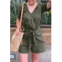 Retro Womens Rompers Solid Color Tie-Waist Surplice Neck Regular Fitted Short Sleeve Rompers