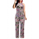 Womens 3D Jumpsuits Creative Pinstriped Floral Leaf Printed Tie-Waist Sleeveless Full Length Halter Neck Regular Fitted Jumpsuits