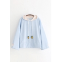 Cute Girls Carrot Embroidered Drawstring Long Sleeve Relaxed Fit Hoodie
