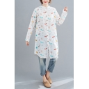 Leisure Womens All Over Mixed Cartoon Print Long Sleeve Collarless Button Up Linen and Cotton Tunic Relaxed Shirt