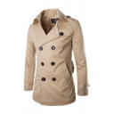 Cool Mens Trench Coat Plain Double-Breasted Epaulette Wide Lapel Collar Mid-Length Long Sleeve Slim Fitted Trench Coat