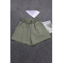 Womens Shorts Chic Solid Color Tie Detail Cotton Linen Elastic Waist Wide Leg Loose Fitted Relaxed Shorts