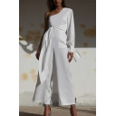 Basic Womens Jumpsuits Solid Color Tie Detail Wide Leg 7/8 Length Regular Fitted One Shoulder Long Sleeve Jumpsuits