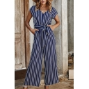 Womens Jumpsuits Creative Striped Printed Tie-Waist Short Sleeve V Neck Wide Leg Loose Fitted Jumpsuits